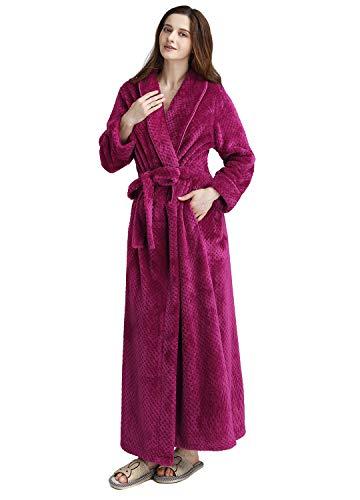 (Womens Long Thick Fleece Robe Warm Waist Belt Super Soft Spa Plush Full Length Bathrobe with Shawl Collar (Small/Medium,)