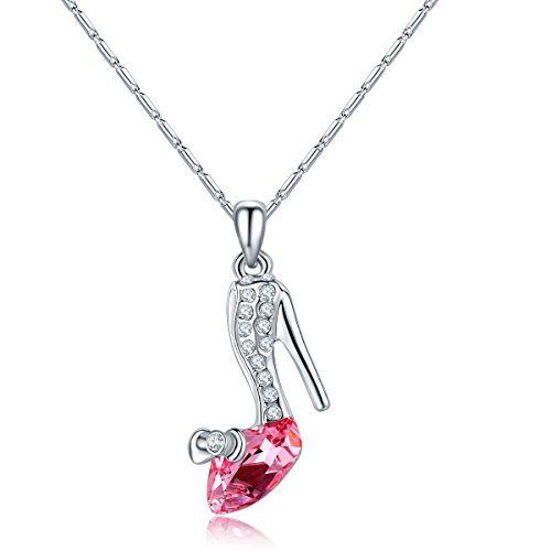 ATDMEI Cinderella High Heels Shoes Pendant Necklace Sterling Silver Plated for Women Girls Red Zircon Jewelry Gifts ()
