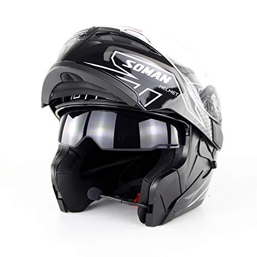 YGFS Motorcycle Double Lens Open Helmet High Density Cushioning Material Dot Certification Standard Full Face Helmet (Black and White)