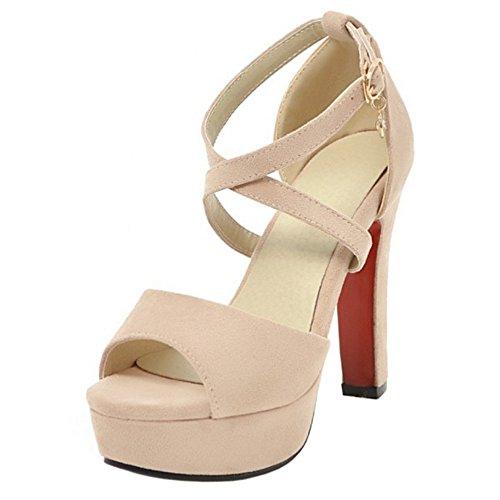 Moda Plataforma Tacon Sandalias Beige Alto Mujer 85 RAZAMAZA 5v1xq7c