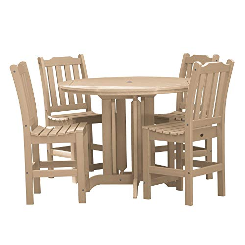 (highwood AD-CNL48-TAU Lehigh 5-Piece Round Counter Height Dining Set, Tuscan Taupe)