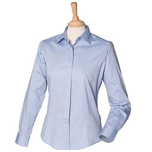Henbury Damen Long Sleeve Oxford Shirt H551hellblau XXL/18