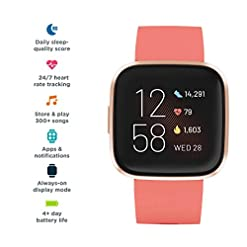Fitbit Versa 2 Health & Fitness Smartwatch with Voice Control, Sleep Score & Music, Bordeaux, One Size, Exclusive to… Sports Technology smartwatch