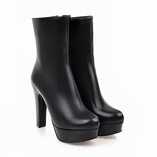 Latasa Dames Platform Hoge Hak Jurk Laarzen Zwart