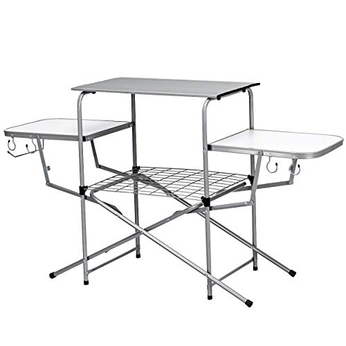 Giantex Aluminum Folding Grill Table, with Hooks and Storage Lower Shelf,Easy to Carry with Carrying Bag, Great for BBQ, Picnics, RVing and Backyards (Aluminum Table)