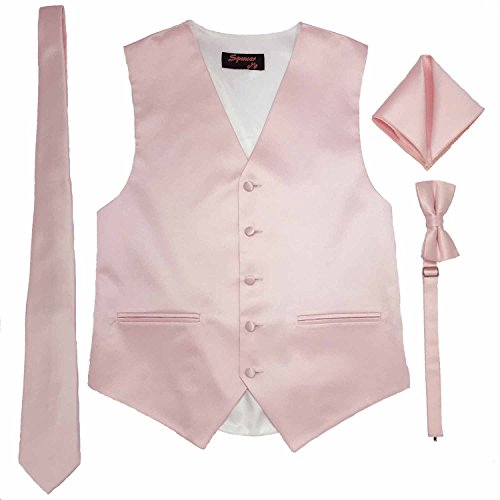 Spencer J's Men's Formal Tuxedo Suit Vest Tie Bowtie and Pocket Square 4 Piece Set Variety of Colors (M (Coat Size 38-41), Pink) ()