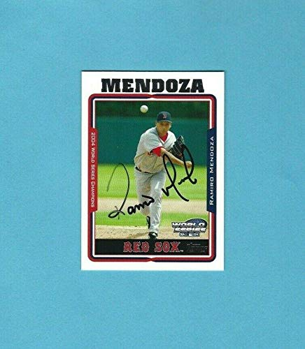 2004 Topps World Champ Boston Red Sox Ramiro Mendoza Autographed Baseball Card - Baseball Slabbed Autographed Cards