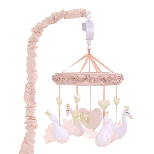 Grace Pink Swan and Hearts Musical Mobile by The Peanut Shell by The Peanut Shell