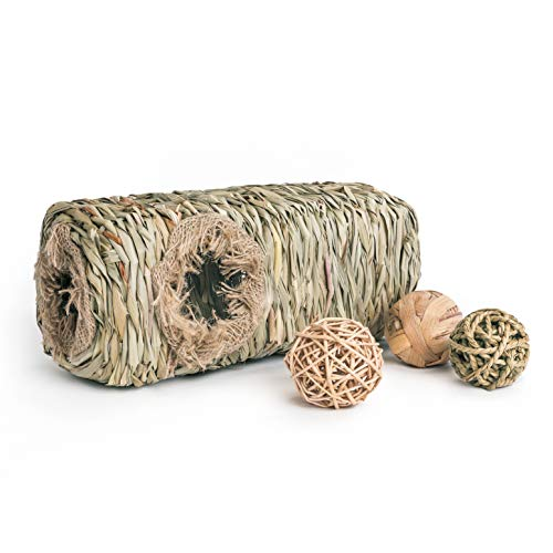 Niteangel Chinchilla Grass Tunnel Natural Woven Hideout Chew Ball Toys for Guinea Pigs Rats Mice Chinchilla