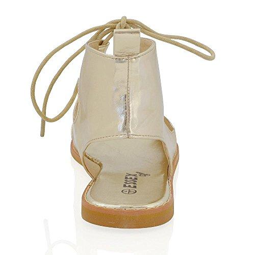 Sandali Gladiatore Donna Essex Glam Sandali Stringati In Pelle Sintetica Oro Metallizzati