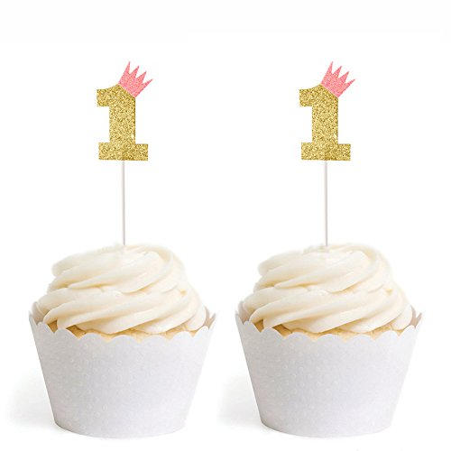 Youbedo Pink Crown 1st Birthday Party Cupcake Toppers One Cupcake Toppers Glitter Gold First Birthday Party Decoration-10 PC