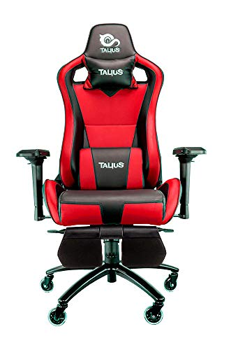 Talius Caiman Silla Gaming Profesional con reposapies Extraible, Inclinacion y Altura Regulable, reposabrazos 4D Ajustables (Rojo)