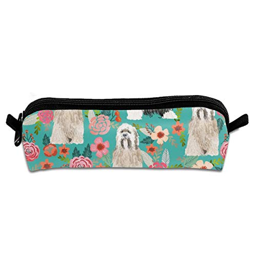 shirt home Tibetan Terrier Florals Dog Breeds Turquoise Pencil Pouch Bag Stationery Pen Case Makeup Box with Zipper Closure 21×5.5×5 cm