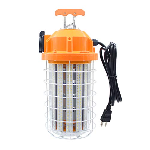 150 Watts LED Temporary Work Light Fixture 5,000K Daylight White, Durable Construction Portable Hanging Lighting for Jobsite Lighting Outdoor Damp Location