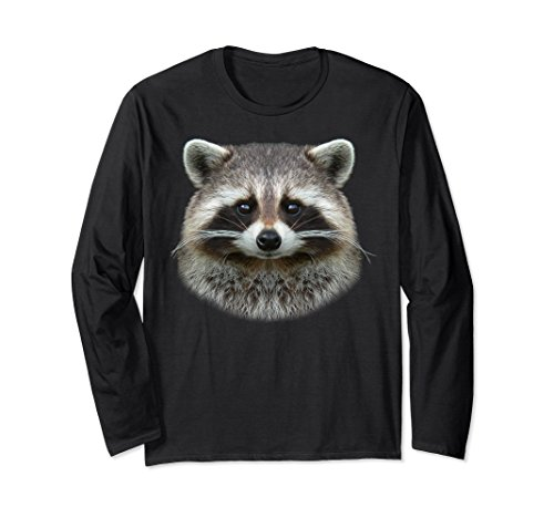 Unisex Raccoon Face T-shirt Cute Raccoon Lover Tee 2XL Black