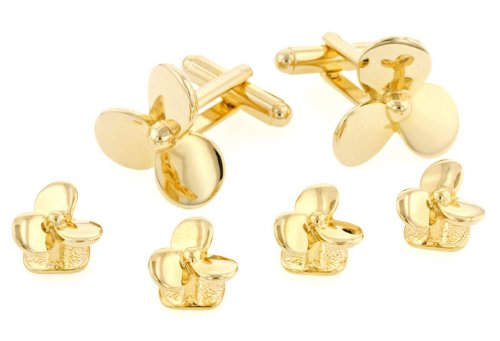 JJ Weston Propeller Shaped Tuxedo Cufflinks and Shirt Studs. Made in the USA. (Shaped Cufflinks)
