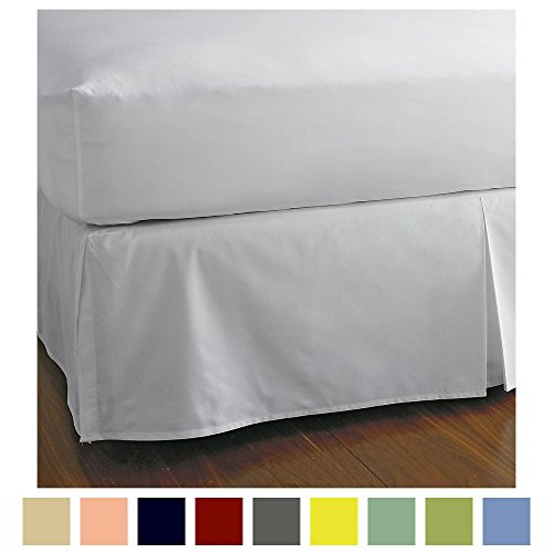 Split Corner Bed Skirt 18 Inch Drop 100% Egyptian Cotton 600 Thread Count Luxurious & Hypoallergenic Easy to Wash Wrinkle & Fade Resistant (King, White)