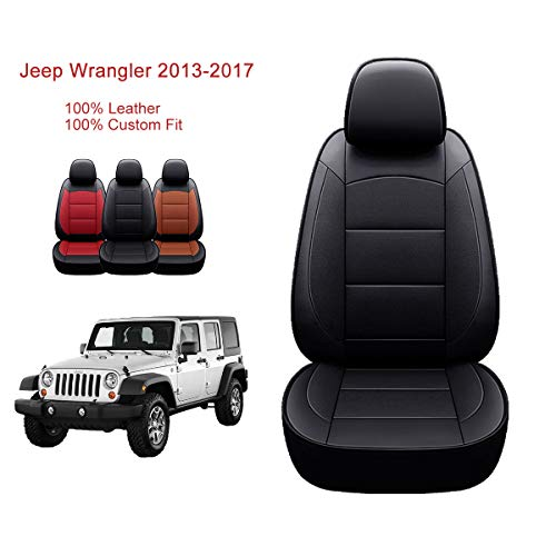 OASIS AUTO 2013-2017 Jeep Wrangler 4DR Custom Exact Fit PU Leather Seat Covers 2013 2014 2015 2016 2017 (2013-2017 Wrangler 4DR, Black)