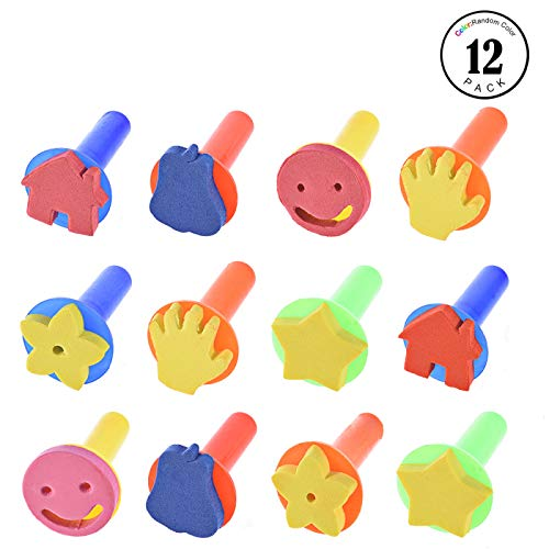 Foam Stamper - Feeko Sponge Paint Brush, 12 Piece Sponge Painting DIY Painting Tools Children's Foam Sponge Brush Painting Tools Children's Platter Pattern Early Education Sponge Painting Craftsand DIY
