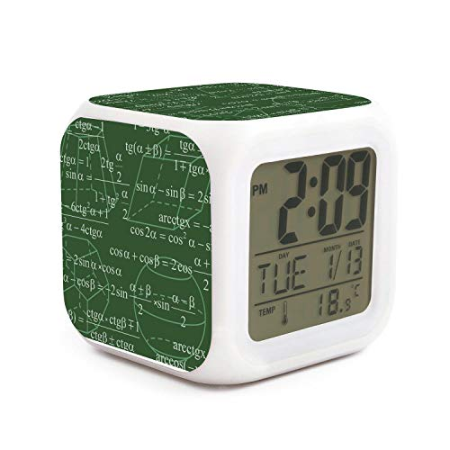 HOTMN Math Equations Paris Style Fashion Multifunction Digital Desk Alarm Clock with LED Touch Light Desk Watch Table Clock