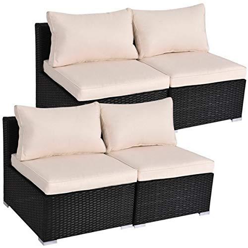 Hebel Black Outdoor Patio Rattan Furniture Set Infinitely Combination Cushion Wicker | Model SF - 815 |