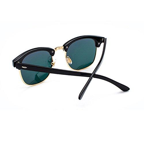 sol Gafas Medio Mujeres Rosa Oro marco y Inlefen de hombres polarizados UV400 lentes retro Negro n1qWB
