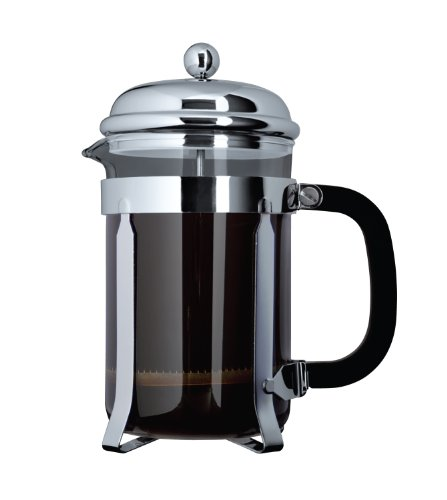 Chrome Cafetiere - Cafe Ole By Grunwerg 3-cup Classic Coffee Maker Glass Cafetiere, Chrome Finish,