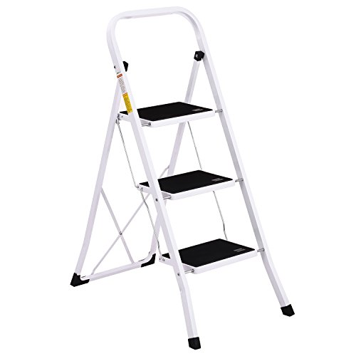Ollieroo Step Stool EN131 Steel Folding 3 Step Ladder with Grip Handle Anti-slip Step Mon-marring Feet 330-Pound Capacity White (Large Base Adjustable Roof)