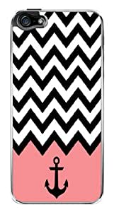 Pink Chevron Zig Zag Anchor Snap-On Cover Hard Plastic Case for iPhone 5/5S (Clear)