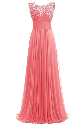 (PROMLINK Women's Beaded Chiffon Evening Gown Long Bridesmaid Prom Dress,Coral)