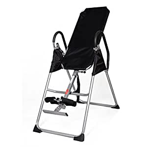 Gracelove New Inversion Table Deluxe Fitness Chiropractic Table Back Pain Relief Exercise