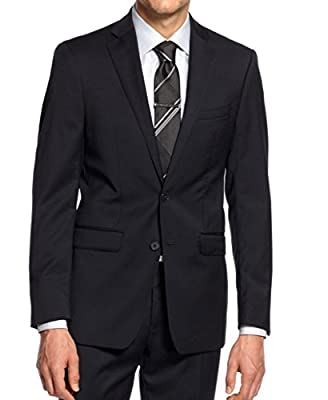 Calvin Klein Slim Navy Solid Wool 2 Button Flat Front New Men's Suit Set