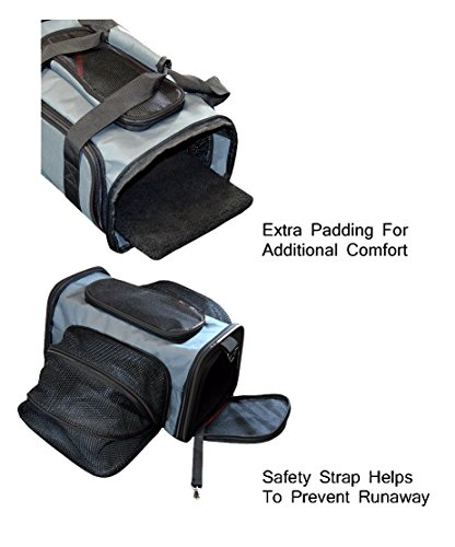 Peak-Pooch-Expandable-Foldable-Airline-Approved-IATA-Carry-On-Travel-Pet-Dog-Cat-Soft-Sided-Carrier-w-Fleece-Bed-Charcoal-Black-Trim-Medium-18x-11x-11