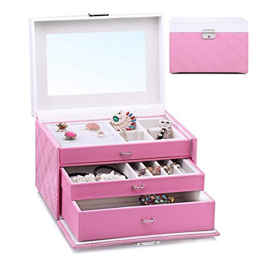 Jewellery Box Storage Removable Tray for Boxes Storage Case Organizer Leather Jewelry Box Watch Storage Organizer W/Lock Mirror ZHAOYONGLI (Color : Pink)