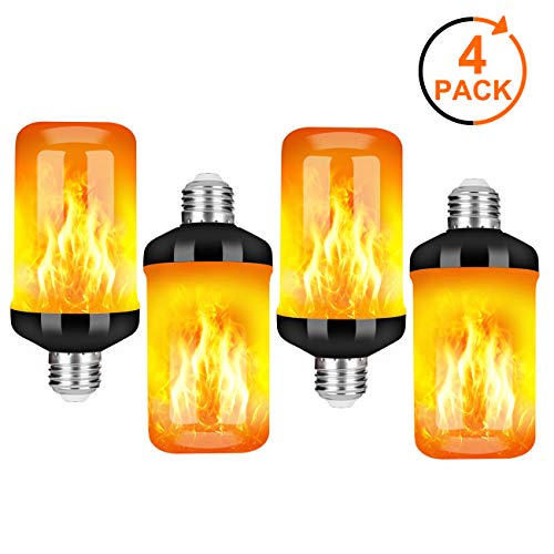Y- STOP LED Flame Effect Fire Light Bulb - Upgraded 4 Modes Flickering Fire Holiday Light Christmas Decorations - E26 Base Flame Bulb with Upside Down Effect(4 Pack)