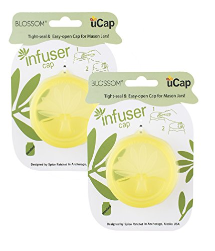 Blossom uCap Infuser Lid, Silicone, Fits Standard Mason Canning Jars, Olive Green, Set of 2, 3.5-Inches