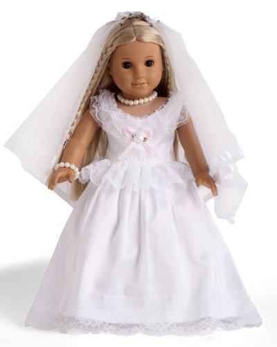 "2pc White First Communion Dress/ Wedding Dress Fits 18"" Amer"