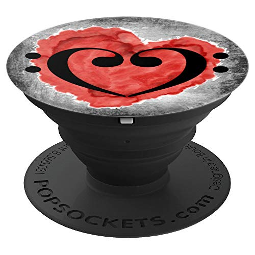 Double Bass Clef Heart Red Watercolor Love Valentine Bassist PopSockets Grip and Stand for Phones and Tablets