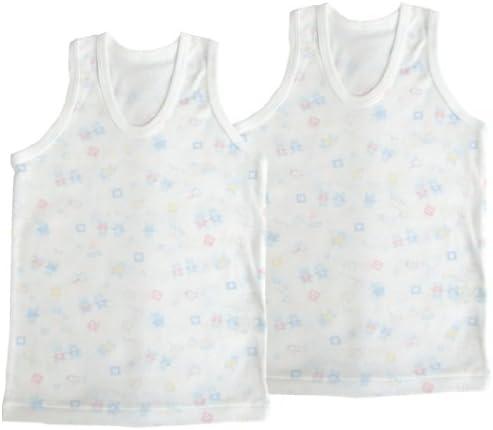 ベビーストーリー 2枚組 フライス総柄プリント U首ランニングシャツ 80cm サックス KT15724 日本製