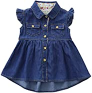 Becoler Toddler Baby Girls Dress Ruffle Denim Blue Button Clothes A-line Summer Outfit