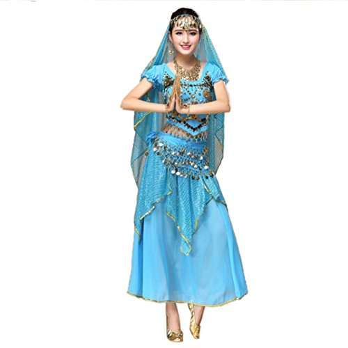KESEE Women Belly Dance Outfit Costume India Dance Clothes Top+Skirt (Sky Blue)