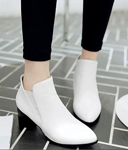 Chfso Kvinners Sexy Vanntett Fuskepels Foret Elastiske Spisse Tå Midten Blokk Hæl Vinter Chelsea Boots White