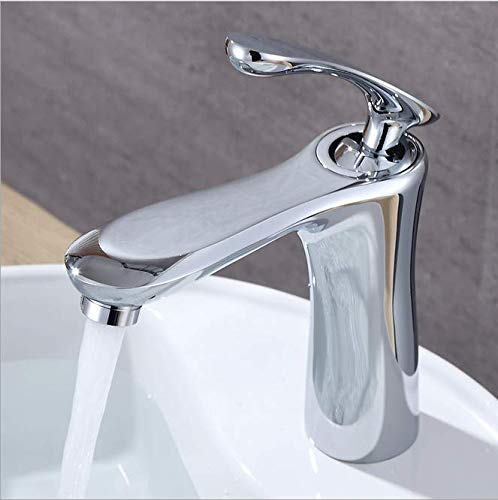 - Copper bathroom lifting washbasin faucet with built-in valve core, single washbasin faucet, face basin, single hole