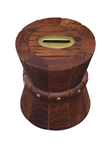 Wooden Piggy Bank Vintage Indian Drum Shaped Money Coin Saver Gift Idea for Children (Halloween Art Ideas Junior Infants)