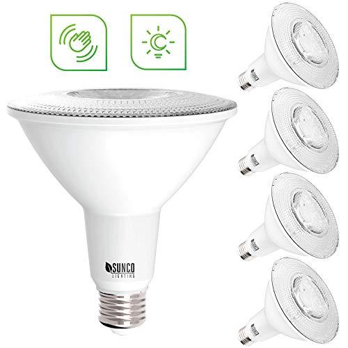 Sunco Lighting 4 Pack PAR38 LED Bulb, Dusk-to-Dawn + Radar Motion, 13W=100W, 5000K Daylight, 1050 LM, Indoor/Outdoor, Photocell + Motion Sensor, Security Flood Light - UL