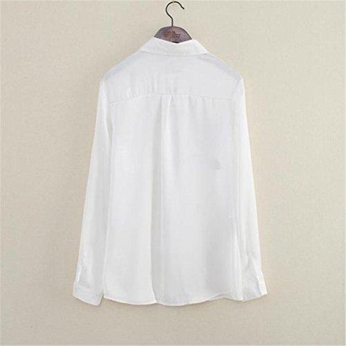 Femme Longue Blouse manches, Reason en mousseline de soie Turn Down Collar Rose Flower Shirts