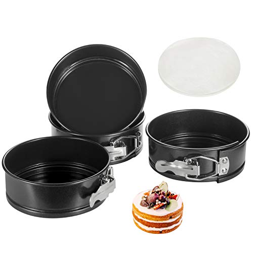 Springform Pan, 4.6 Inch Nonstick Cake Pan, Set of 4, with 50 PCS Paper Liners. Leak-proof Baking Pan for Mini…