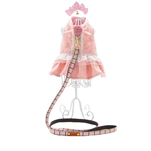 FLAdorepet 3Pcs Pink Flower Dog Dress Harness with Matching Leash Set Small Dog Pet Cat Clothes Shirt Costume Dog Skirt,Dress,Hair Bow (S, Pink)