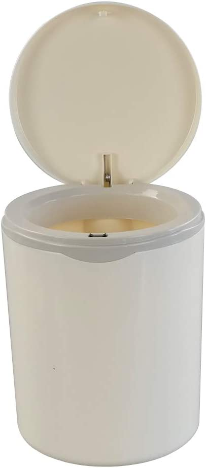 Vababa 2 L/0.5 Gallon Tiny Waste Can, Push-Button Trash Can, White