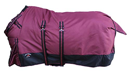 """CHALLENGER 76"""" 1200D Turnout Waterproof Horse Winter Blanket Heavy Belly Band 567B"""